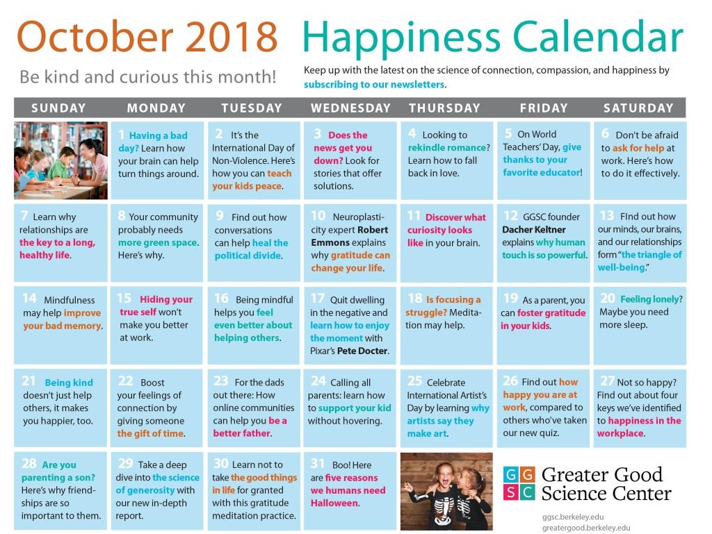 October Happiness Calendar