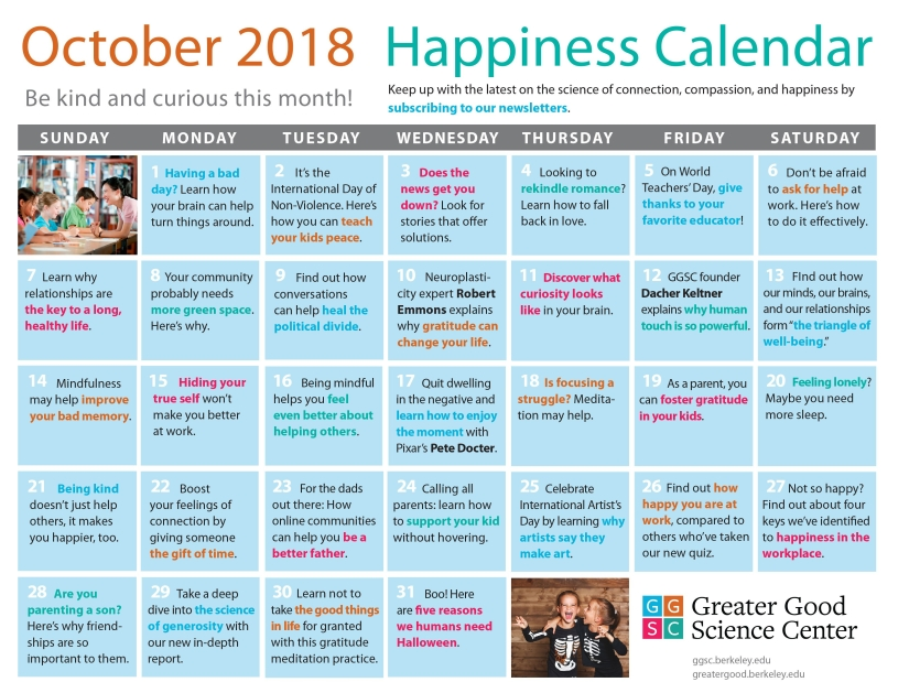 October Happiness Calendar