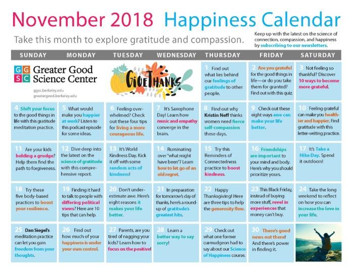 November Happiness Calendar