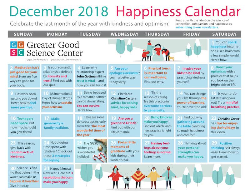 December Happiness Calendar