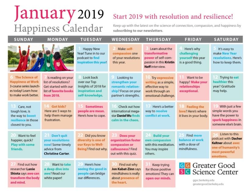 January Happiness Calendar