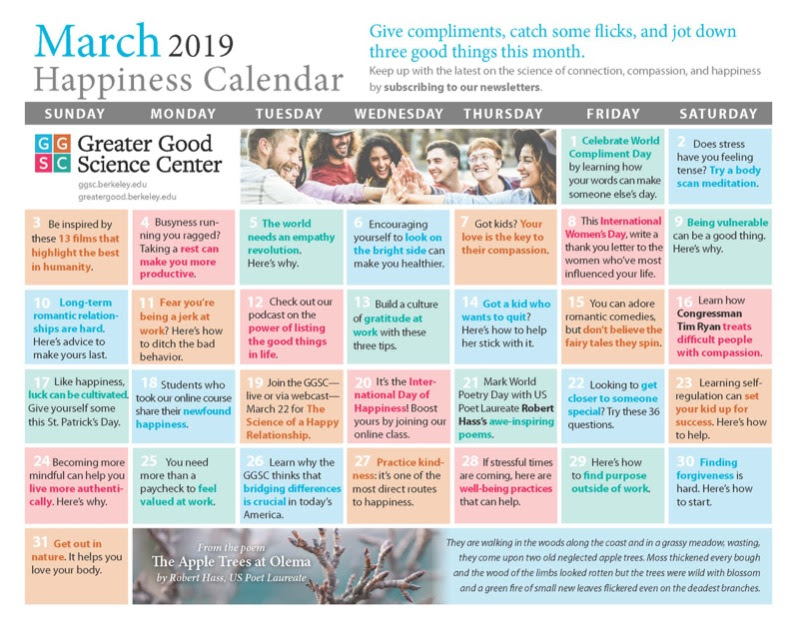 March Happiness Calendar