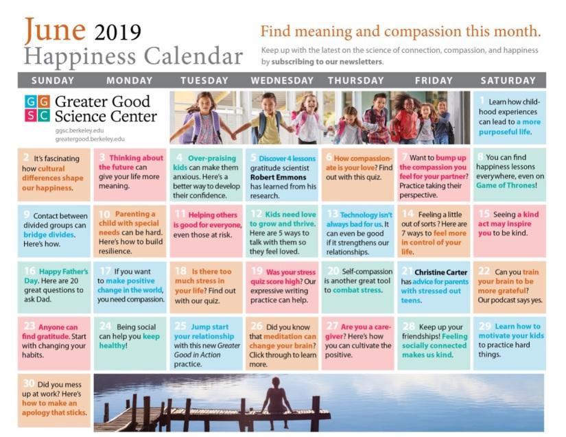 June Happiness Calendar