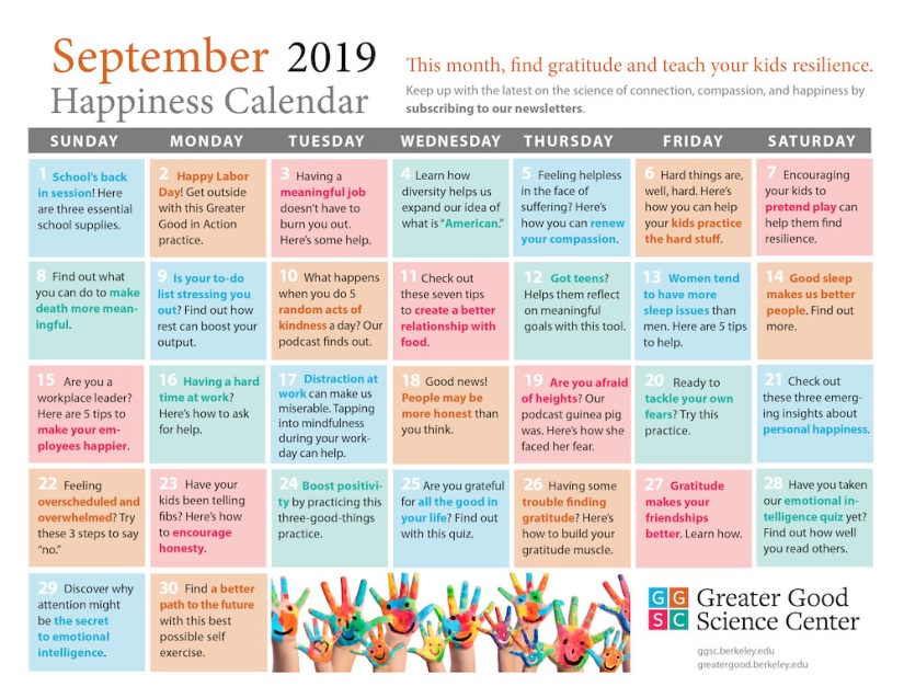 September Happiness Calendar
