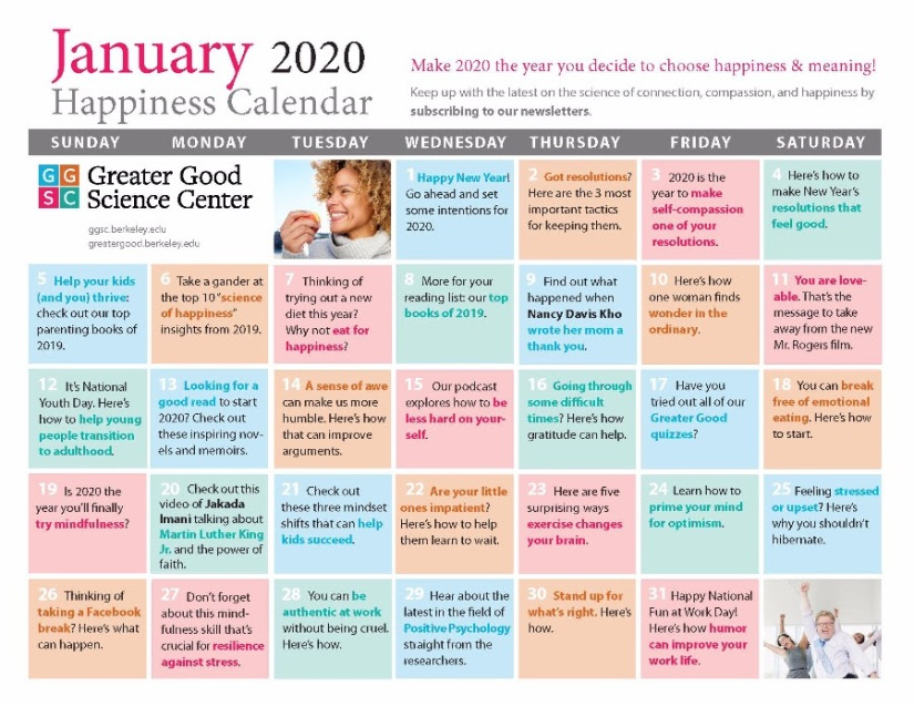January 2020 Happiness Calendar