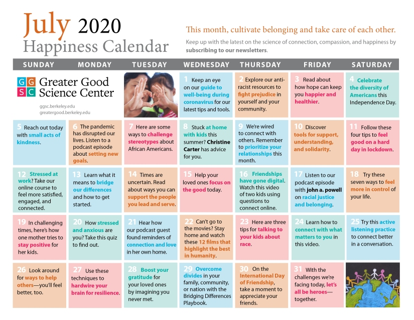Greater Good Happiness Calendar - July