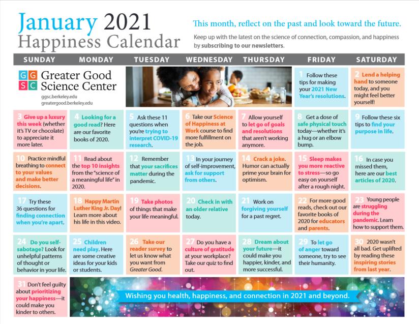 Happiness calendar January 2021