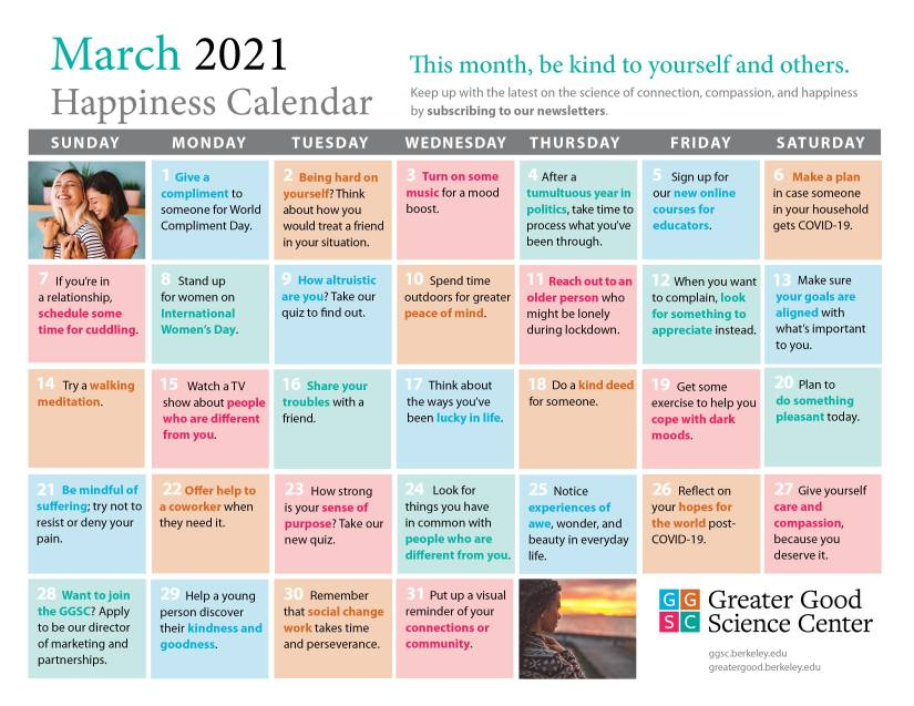 Greater Good Science Center March Happiness Calendar